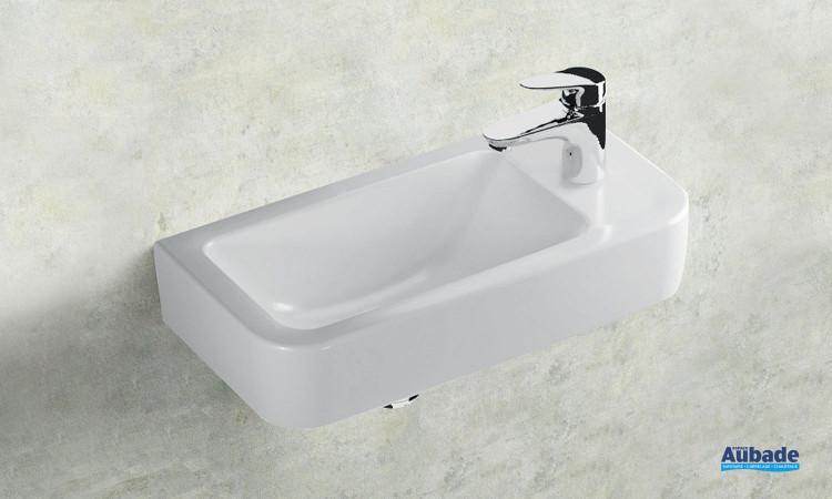 Lave-mains en céramique blanc Clivia version droite de Vigour