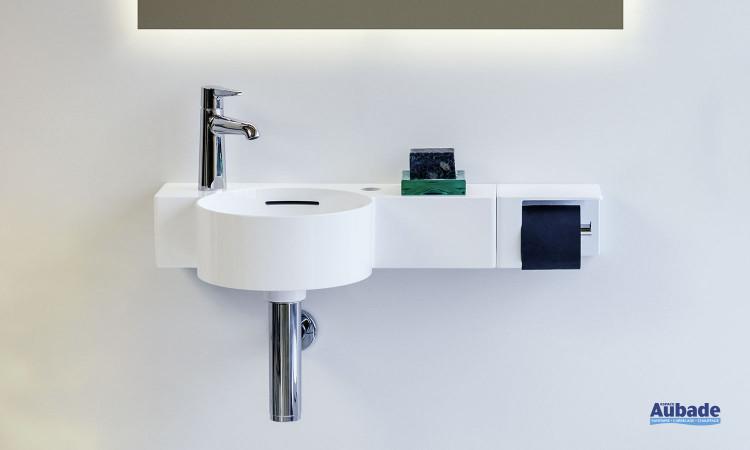 Lave-mains avec porte-papier rouleau Val finition blanc brillant de la marque Laufen
