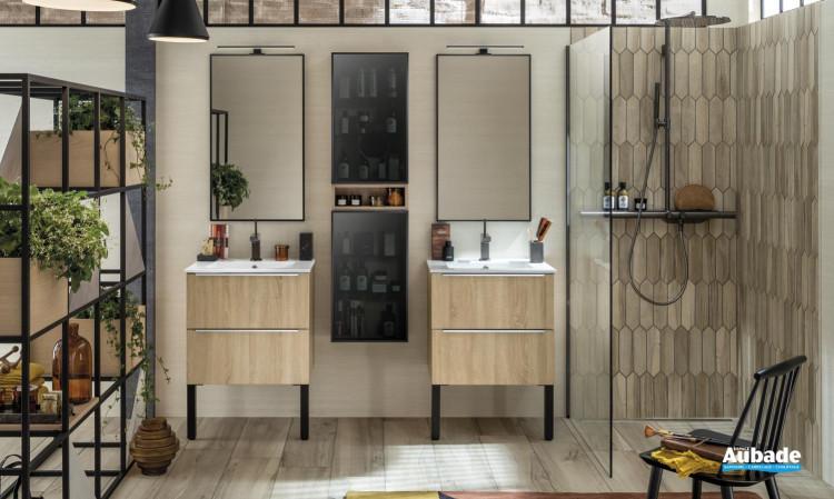meuble salle de bain delpha unique naturel chene scie clair