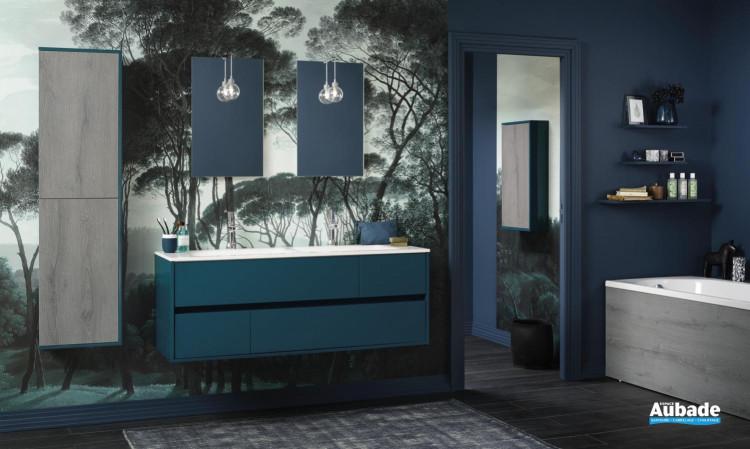meuble salle de bain sanijura frame bleu canard