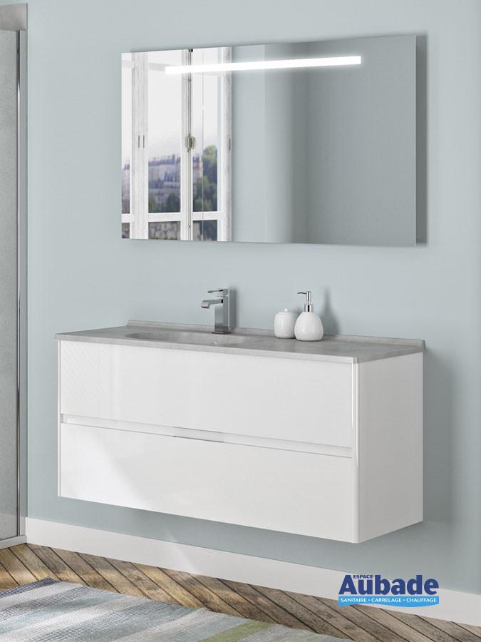 Meuble de salle de bain 2 tiroirs Blanc brillant Elyps avec plan SMO coloris Tadelakt en largeur 120 et cuve à gauche