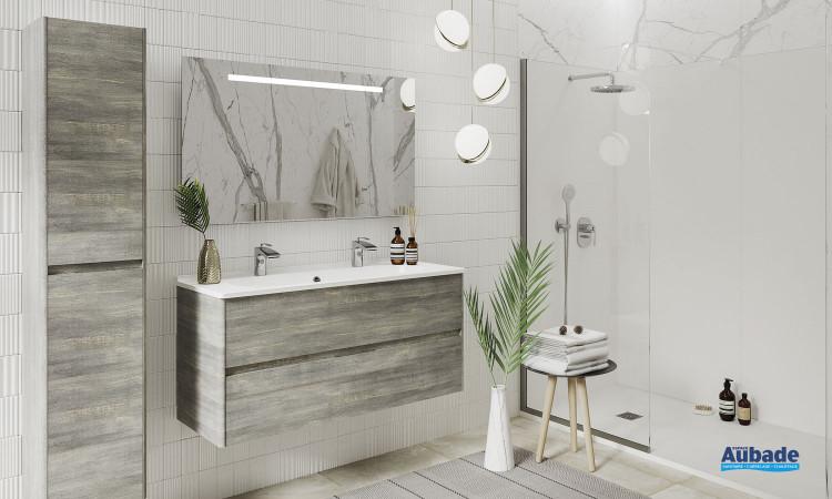 Meuble vasque Elyps de la marque Ambiance Bain coloris Deauville et plan Blanc brillant