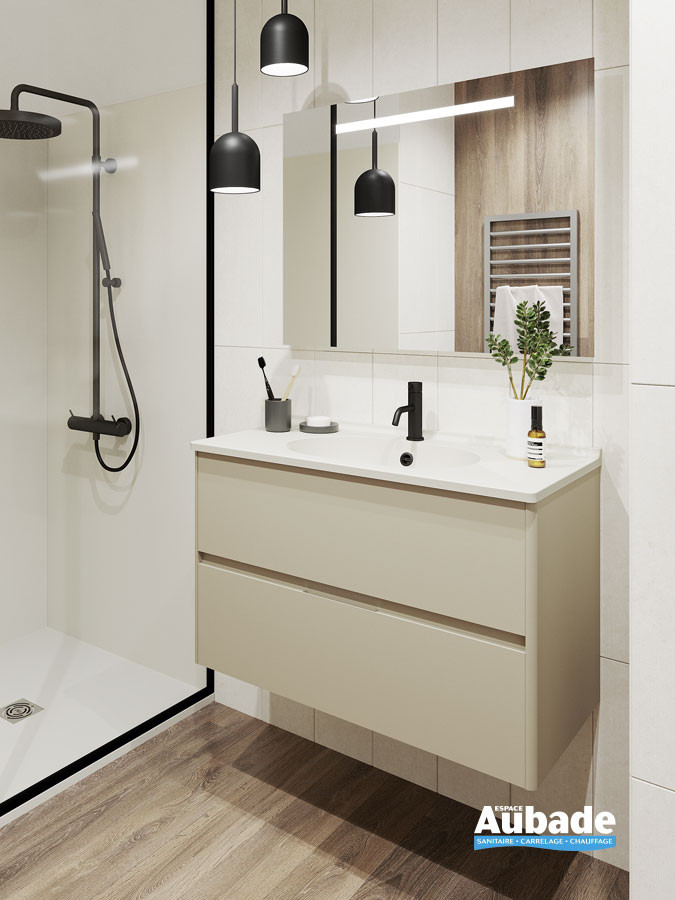 Meuble vasque 2 tiroirs avec prise de main Elyps coloris Safari et plan Blanc brillant