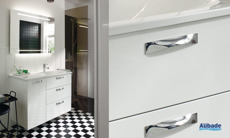 Meuble sous vasque Burgbad Essento avec façades laquées blanches brillantes