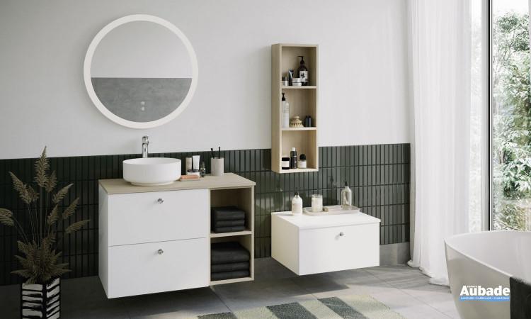 Meuble Mix and Match pour vasque à poser coloris blanc mat et décor chêne cachemire par Burgbad