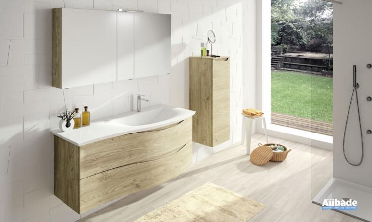 Meuble de salle de bain Twist Chêne san remo Plan Blanc brillant de Cedam