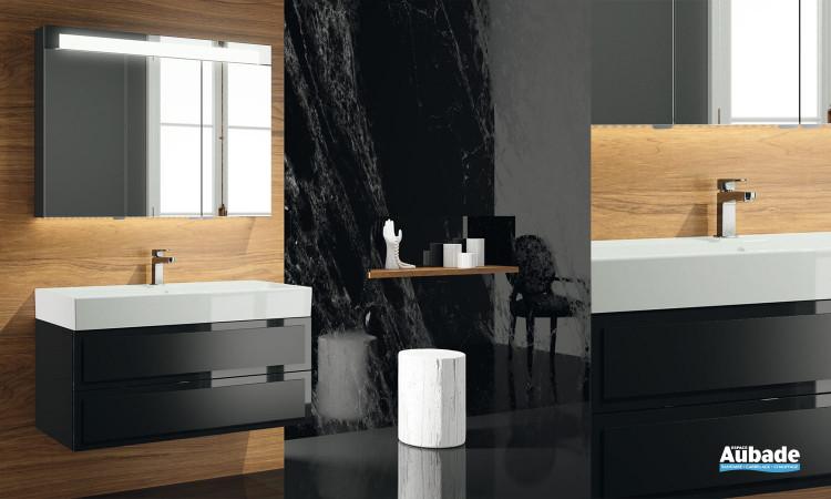 Meuble vasque de salle de bain Elysée laque noir brillant decotec