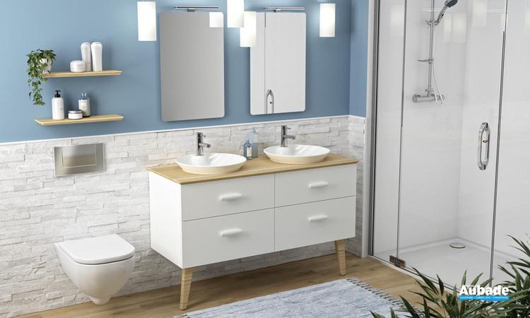 Meuble de salle de bains Hygge L 133 Plan en chêne de Decotec