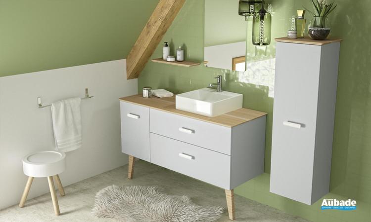 Meuble de salle de bains Hygge L 133 Simple Vasque finition laque Fjord extra-mat blanc Bambou massif multilignes de Decotec