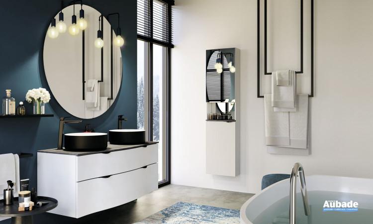Meuble Stiletto laqué blanc mat avec double vasque à poser sur plan zébrano gris de la marque Decotec