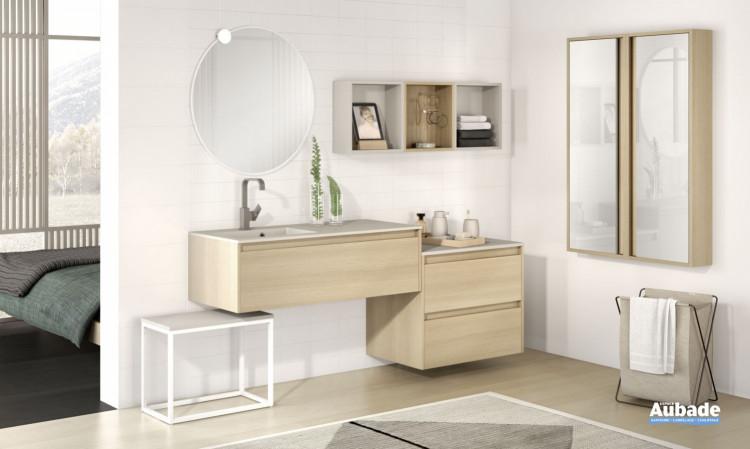 meuble salle de bains delpha d-motion affleurant largeur 200 chene dore structure