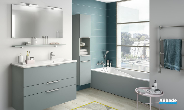 Meuble de salle de bains faciles à intégrer Collection Delphy Graphic 104 vert aloé mat 1