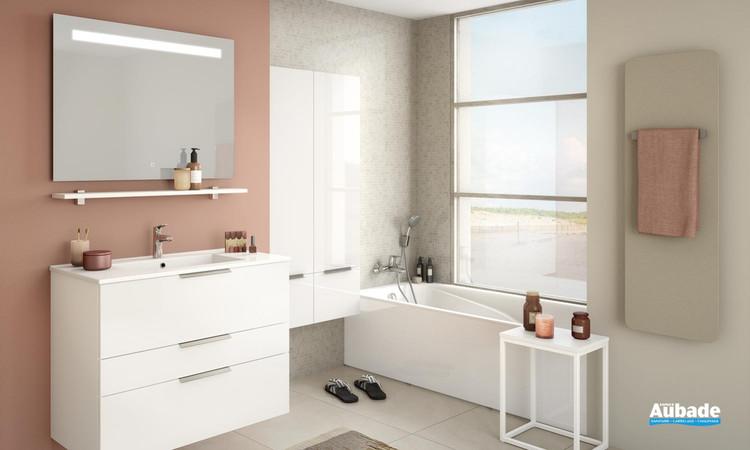 Meuble de salle de bains Delphy Graphic 91 Blanc Brillant de Delpha 1