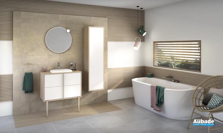 Meuble de salle de bains Evasion par Delpha avec 2 coulissants coloris Blanc brillant et corps de meuble décor chêne doré structuré