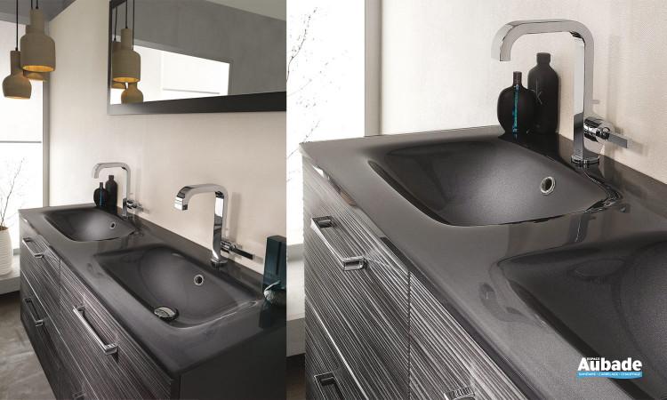 Plan verre double vasque Unique Onde Delpha