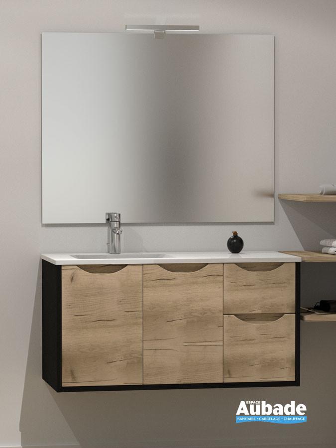 Meuble vasque avec plan céramique Kazar de la marque Lido finition noir mat et façade imitation bois canada