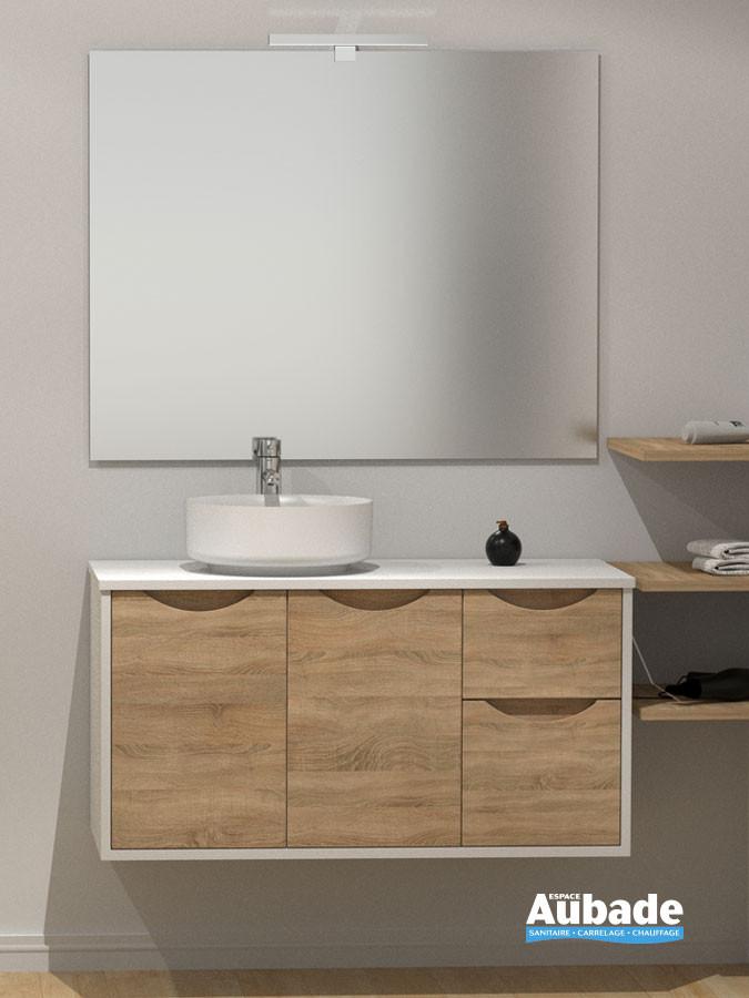 Meuble pour vasque à poser Kazar de Lido finition caisson blanc et façade bois clair