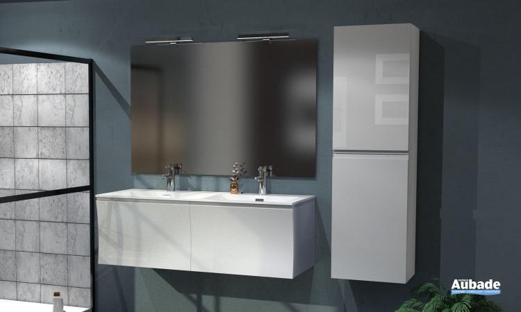 Meuble double vasque Way coloris blanc brillant de la marque Lido