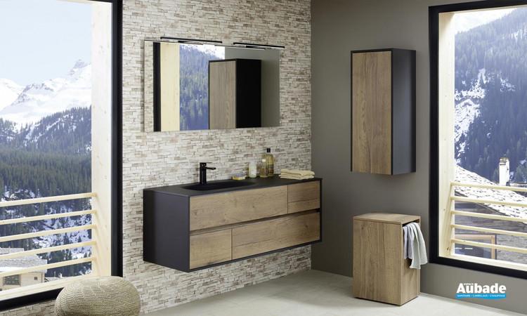 Meuble de salle de bains Frame 140 cm de Sanijura - Chêne Tabac, Cotés laqués noir soft 1