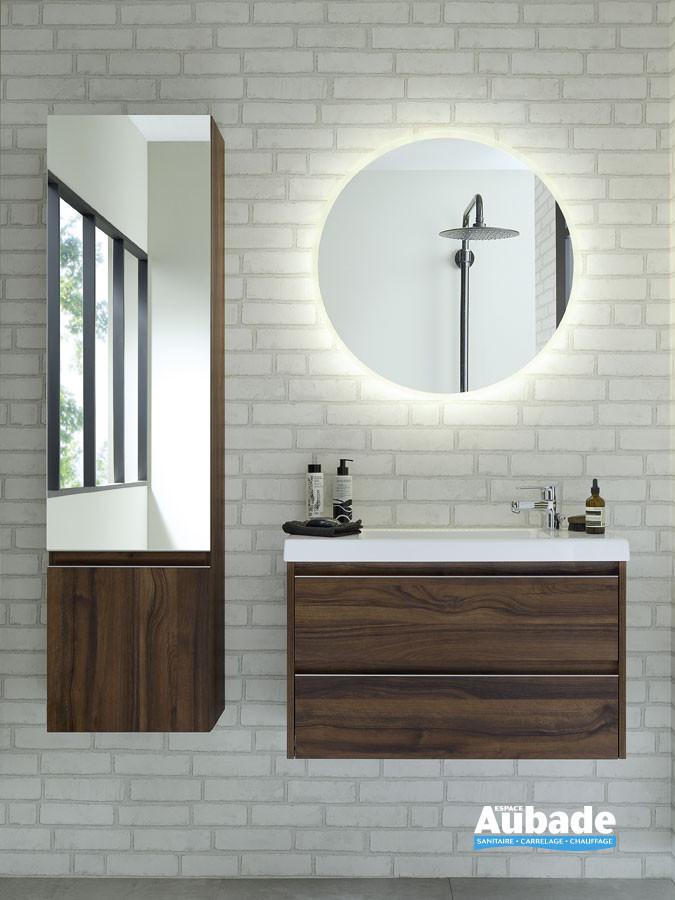 Meuble 2 tiroirs avec poignée profil 45° XS finition mélaminé noyer naturel de la marque Sanijura