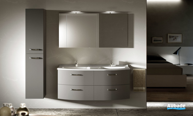 Meuble de salle de bains avec double vasque Elio coloris volcan et plan vasque Artic brillant de la marque Ambiance Bain