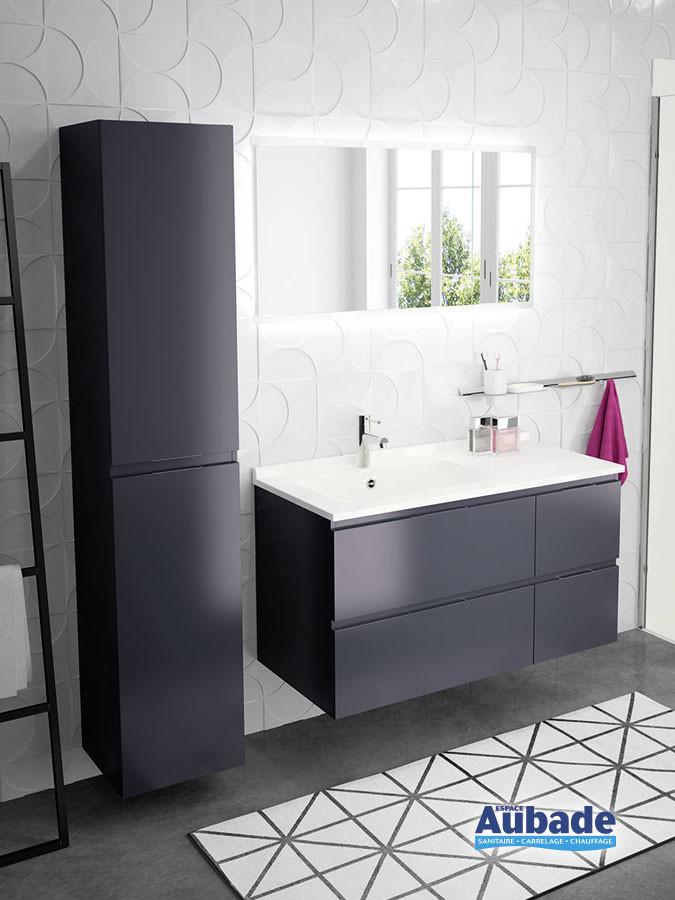 Meubles de salle de bains avec 4 tiroirs Rialto coloris Graphit et plan blanc brillant de Ambiance Bain