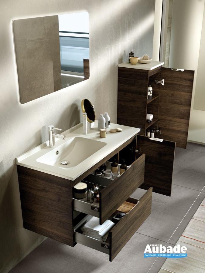 Meubles de salle de bains avec 2 tiroirs et 1 porte Rialto coloris Teak et plan ivory de Ambiance Bain
