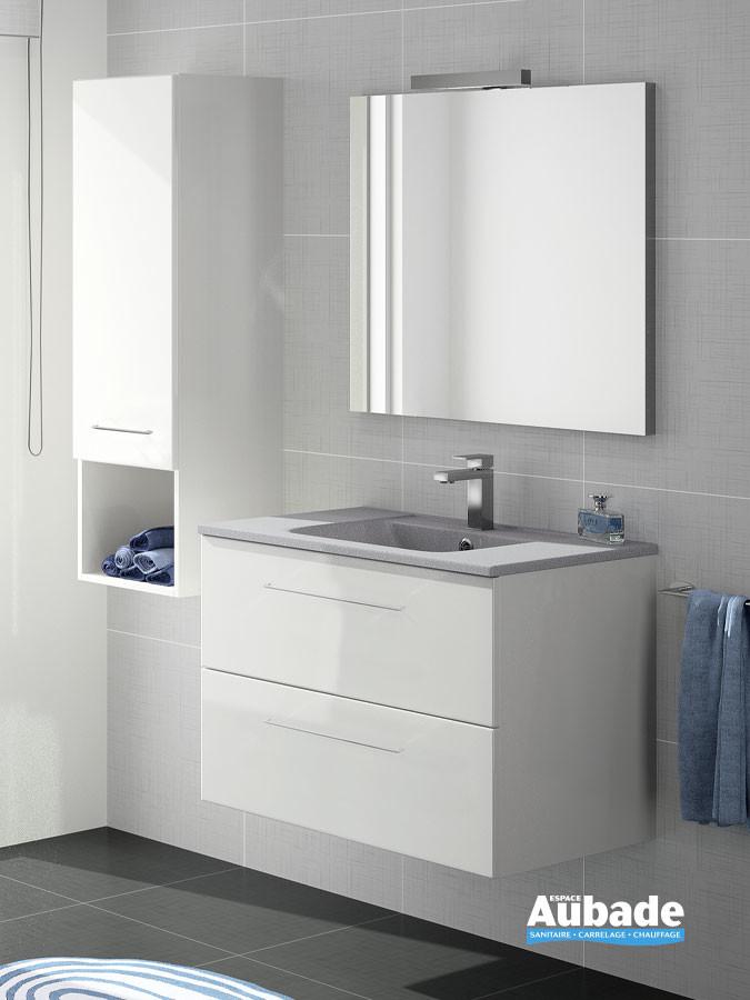Meuble vasque 2 tiroirs Vita coloris blanc brillant et plan stella brillant de Ambiance Bain