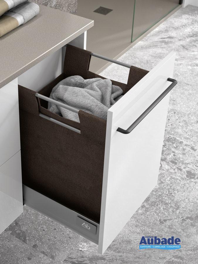 Meuble vasque 2 tiroirs et 1 tiroir panier à linge Vita coloris blanc brillant et plan grège de Ambiance Bain