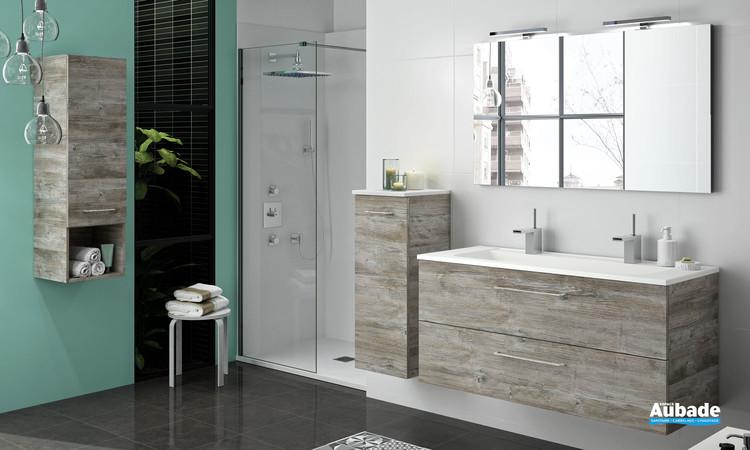 Meuble vasque 2 tiroirs Vita avec plan non percé coloris bosco avec poignée chromé et plan blanc mat de Ambiance Bain