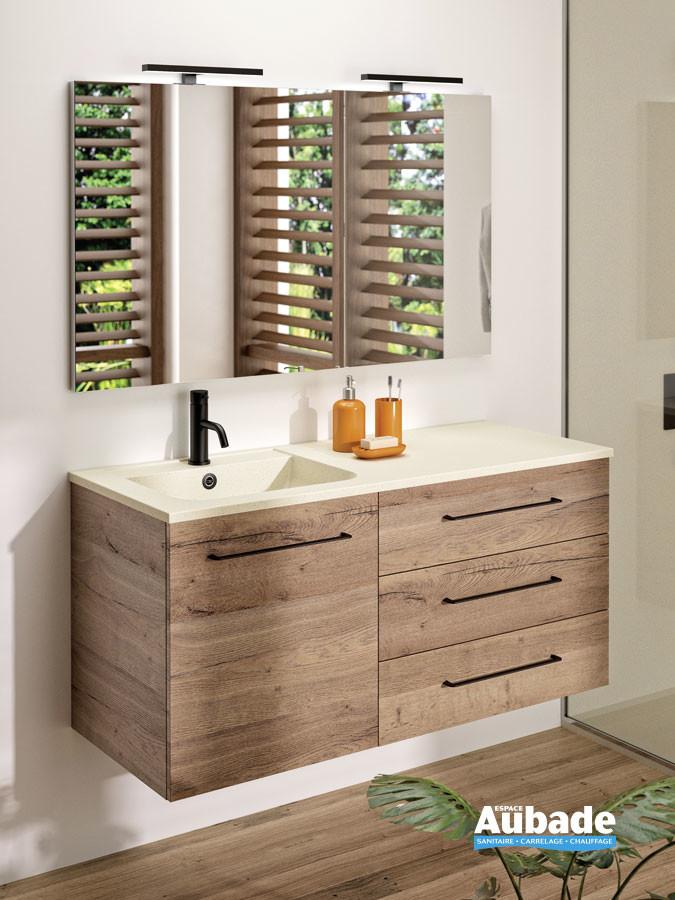 Meuble vasque 3 tiroirs et 1 porte Vita coloris Nebraska avec poignée noir et plan ivory de Ambiance Bain