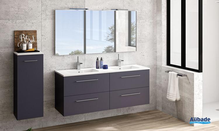 Meuble double vasque 4 tiroirs Vita coloris Graphit avec poignée chromé et plan blanc brillant de Ambiance Bain