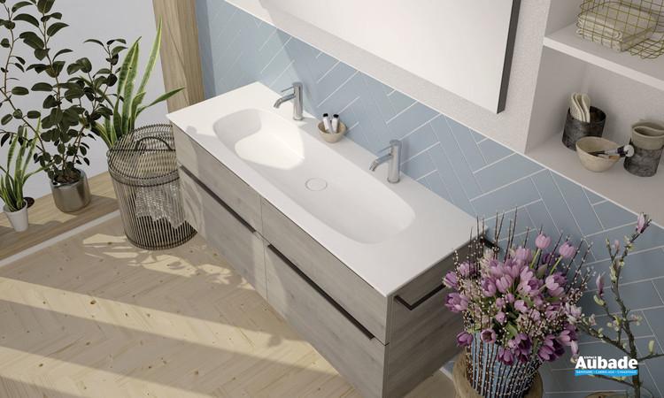 Plan vasque Style 2 en pierre de synthèse Rocksolid blanc brillant sur meuble 2 niveaux coloris chêne flanelle de la marque Burgbad