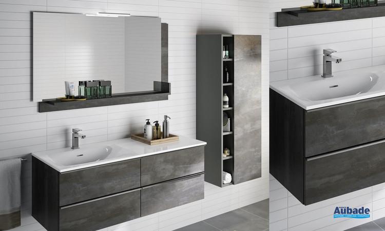 Meuble de salle bains Chiara avec 2 fois 2 tiroirs largeur 120 centimètres coloris béton vulcano de la marque Cedam