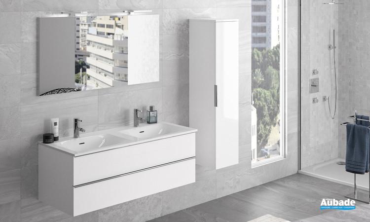 Meuble sous vasque 2 tiroirs Chiara avec plan double cuve coloris blanc brillant de la marque Cedam