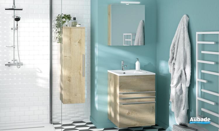Meuble de salle de bains 3 tiroirs Filou coloris chêne vanille de la marque Decotec