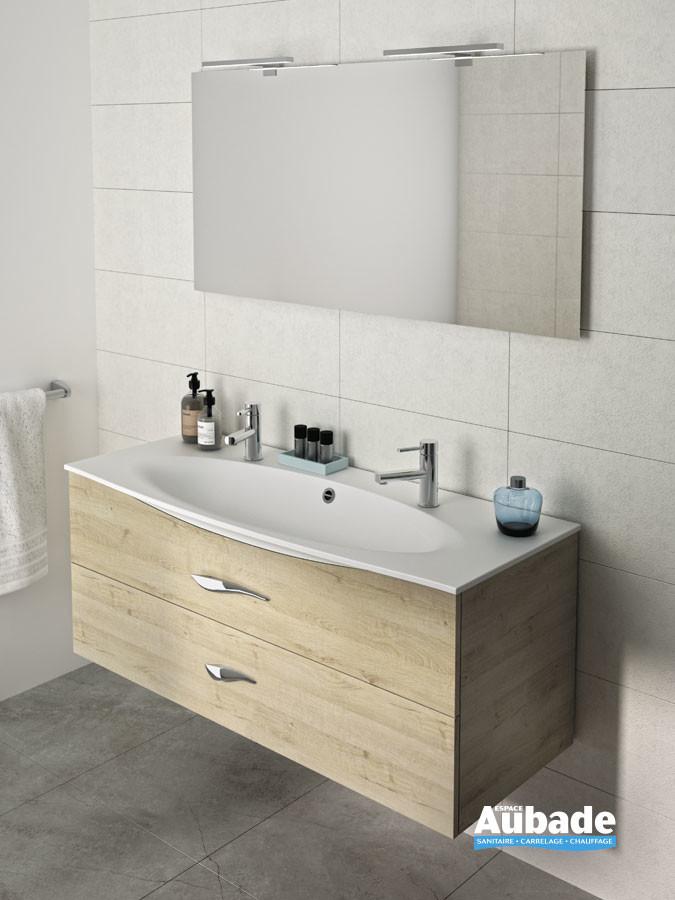 Meuble de salle de bains Flore avec plan vasque percé 2 trous de robinetterie de la marque Decotec