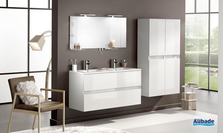 Meuble de salle de bains D Motion largeur 120 avec double vasque et 2 coulissants coloris Blanc brillant de Delpha