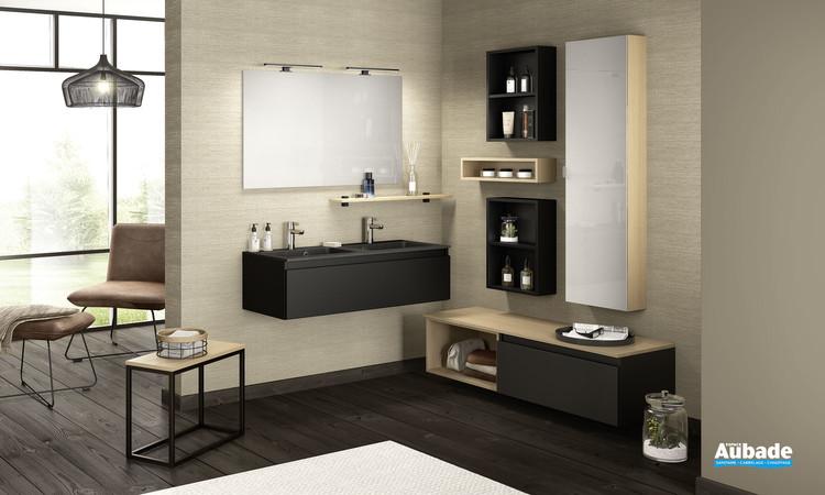 Meuble de salle de bains D-Motion avec double vasque effet pierre et 1 coulissant largeur 120 coloris noir verni mat de Delpha