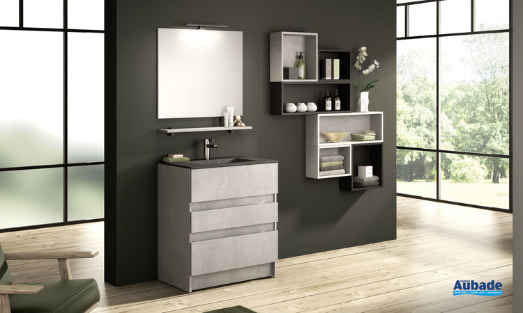 Meuble de salle de bains D Motion avec 2 coulissants et 1 tiroir largeur 80 et coloris Béton foncé structuré de la marque Delpha