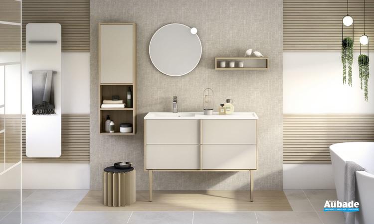 Meuble de salle de bains Evasion par Delpha avec 2 coulissants largeur 120 cm coloris Beige mat et corps décor chêne doré structuré
