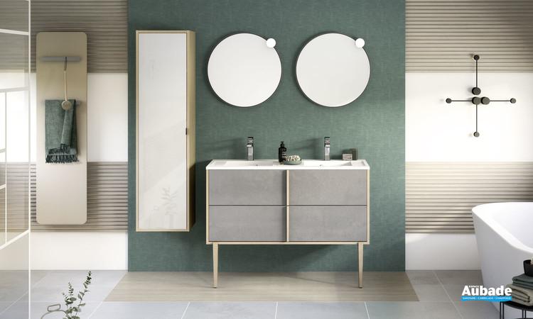 Meuble de salle de bains Evasion avec plan double vasque coloris Béton foncé structuré de la marque Delpha