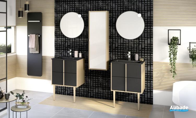 Meuble de salle de bains Evasion par Delpha avec 2 coulissants largeur 60 cm coloris Noir mat et corps de meuble décor chêne doré structuré