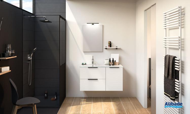 Meuble salle de bains 2 coulissants et 1 porte Kami coloris blanc verni mat de Delpha