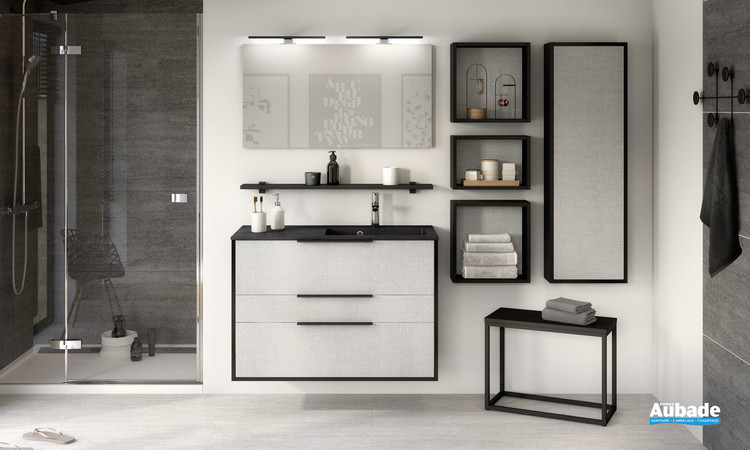 Meuble Ultra Cadra 2 coulissants et 1 tiroir largeur 100 centimètres coloris gris tissé et corps de meuble noir mat de la marque Delpha