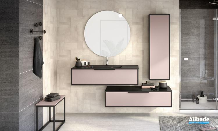 Meuble de salle de bains Ultra Cadra largeur 120 centimètres avec 1 coulissant coloris Rose pastel mat et corps de meuble Noir mat de Delpha
