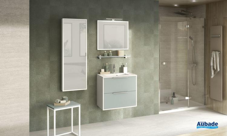 Meuble 2 coulissants Ultra Cadra coloris Vert aloé mat et corps de meuble blanc brillant de la marque Delpha