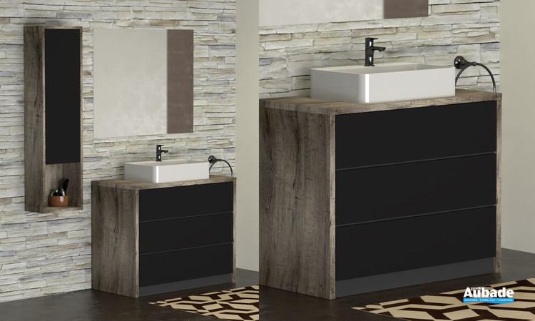 Meubles Charme pour vasque à poser coloris héritage et façade noir mat de la marque Lido