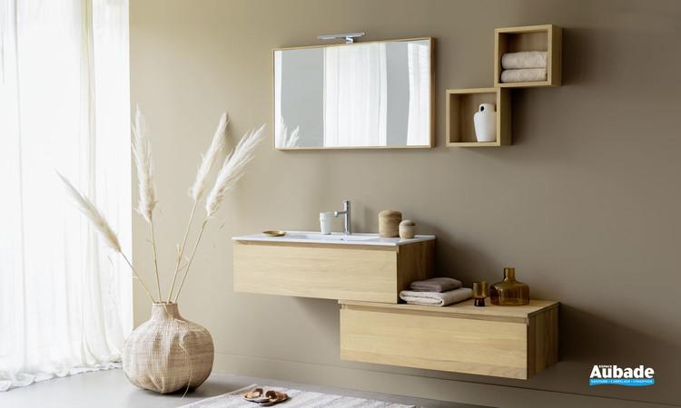 Meuble vasque suspendu Effect 2 avec 1 tiroir et plan en céramique coloris chêne massif massif huilé naturel de Line Art