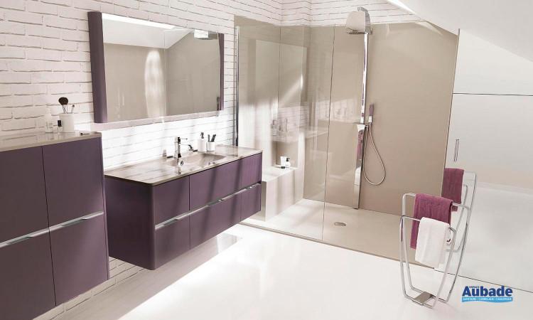 ensemble Dolce de Ambiance Bain avec meuble sous-vasque 6 tiroirs, miroir et double colonne double